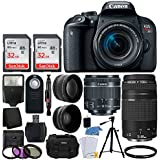 Canon EOS Rebel T7i Digital SLR Camera + EF-S 18-55mm IS STM Lens + EF 75-300mm III Lens + 64GB Memory Card + Slave Flash + Quality Tripod + Camera Bag + Wireless Remote - Deluxe Accessory Bundle