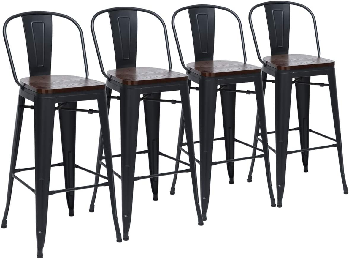 Yongchuang Metal Barstools 30 Seat Height High Back Bar Stools Industrial Kitchen Dining Stools Bar Chairs with Wooden Top Set of 4 Black