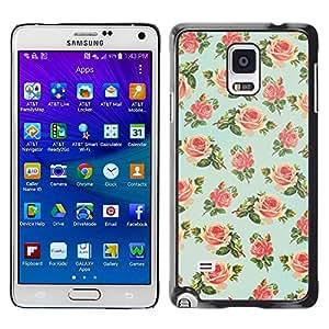 TopCaseStore / la caja del caucho duro de la cubierta de protección de la piel - Floral Rose Wallpaper Retro - Samsung Galaxy Note 4 SM-N910F SM-N910K SM-N910C SM-N910W8 SM-N910U SM-N910