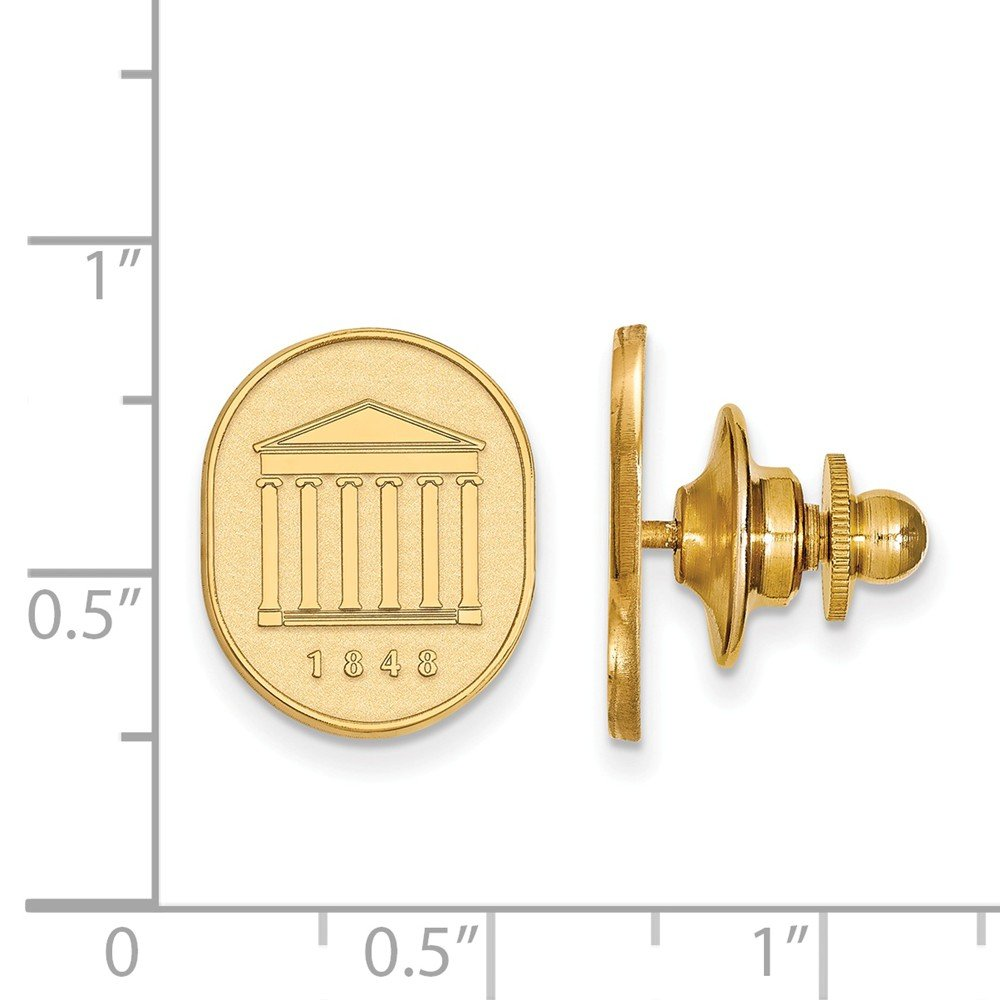 12mm x 15mm Solid 14k Yellow Gold University of Mississippi Crest Lapel Pin