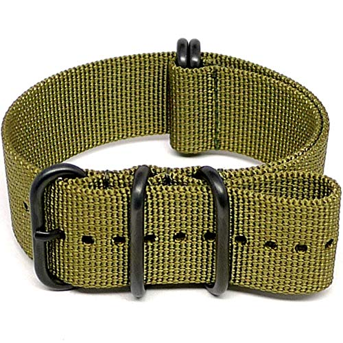 DaLuca Ballistic Nylon Military Watch Strap - Olive (PVD Buckle) : 24mm