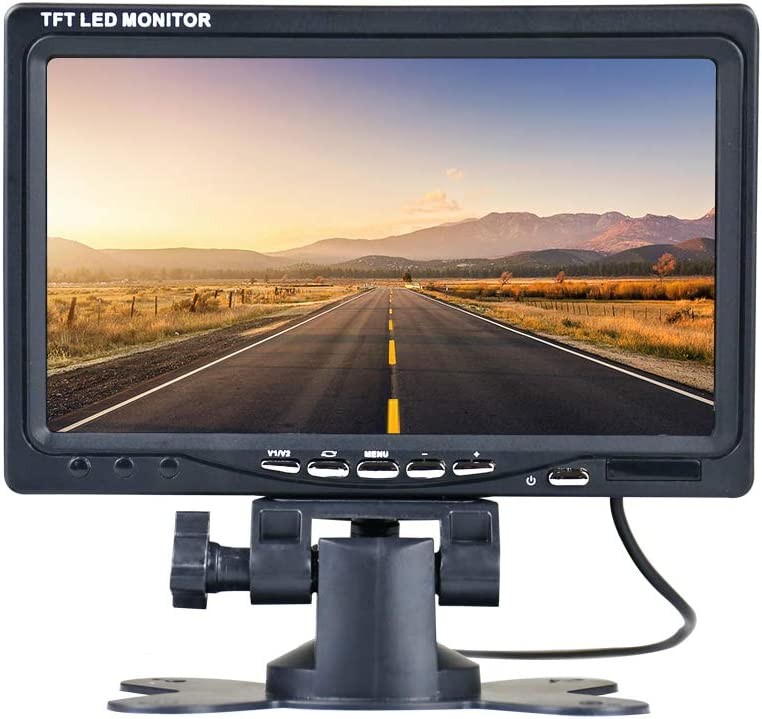 Thinlerain Mini 7 inch car Monitor, 800×480 Backlight TFT LCD HD Color Screen for Car Rear View Cameras, Car DVD, Surveillance Camera with Stand, Remote Control and 2 AV Input.