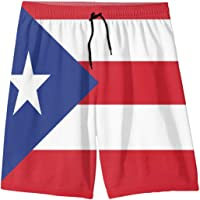 "FeHuew Puerto Rico Flag Teens Swim Trunks 20"" Stretch Quick Dry Swimwear Surf Board Beach Shorts Summer"