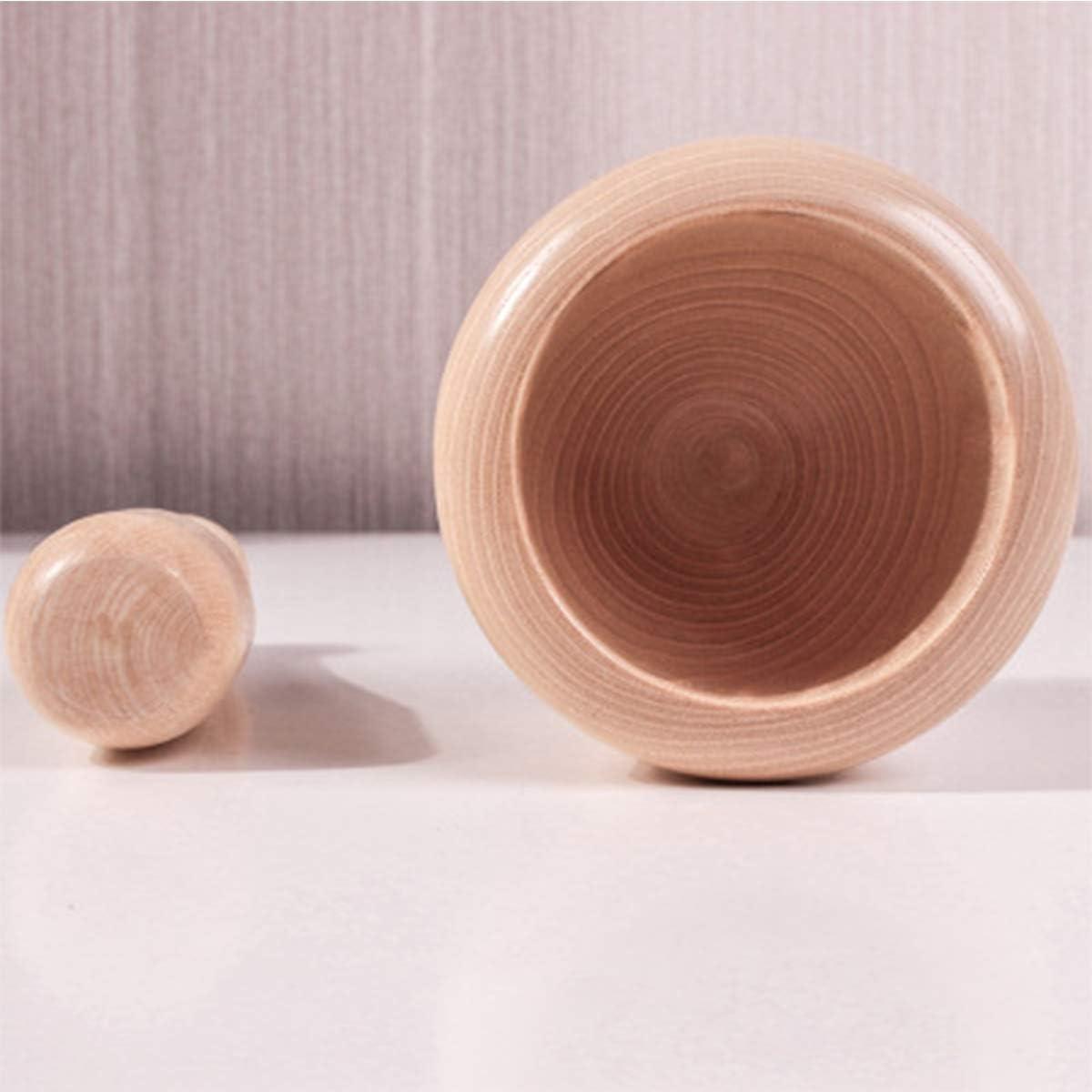 Wood Color Leoyee Household Natural Solid Wooden Manual Garlic Press Mortar and Pestle Set
