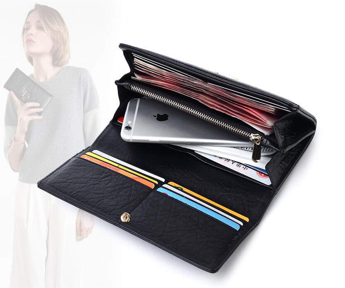 19 3 10 Long Leather Zipper Multi-Function Clutch Color : Black, Size : 7.61.44 inch Size Black Kalmar RFID Travel Wallet for Women cm Stealth Mode Blocking Leather Wallet