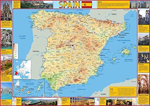 Mapa de España - Turista - Ilustrado con imágenes de puntos clave de interés - Mostrando grandes ciudades y carreteras - Ideal para la escuela o el hogar - Papel laminado -