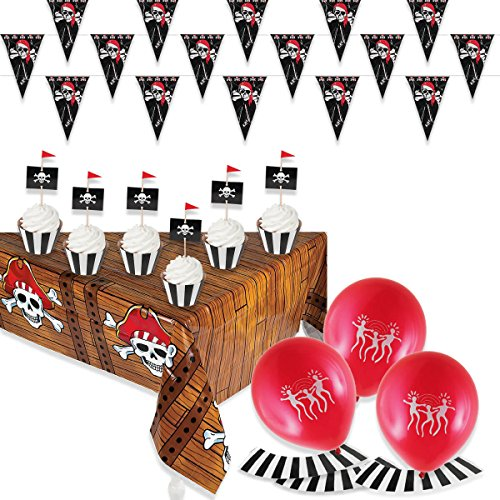 - Pirate Party Decoration Treat Pack with Pirate Ship Table Cover, Plastic Pirate Pennant Banner and 50 Pirate Themed Cupcake Wrappers with Picks