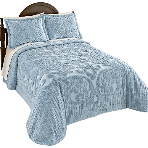 Ashton Chenille Bedspread and Shams, Blue, Full