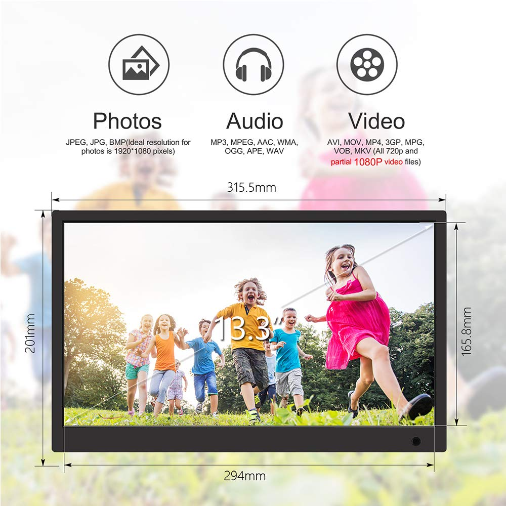 Digital Picture Frame,13.3 inch 1920X1080P with HDMI High Resolution Full IPS Photo/Music/Video Player Calendar, Ultra Slim Design with Remote Control by SSA (Image #2)