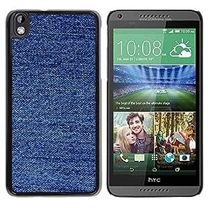 TopCaseStore / la caja del caucho duro de la cubierta de protección de la piel - Fabric Fashion Blue Pattern - HTC DESIRE 816