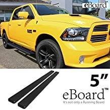 "eBoard Running Boards Matte Black 5"" 09-17 Dodge Ram 1500 10-17 Ram 2500/3500 Crew Cab Nerf Bars Step Bar Side Step"