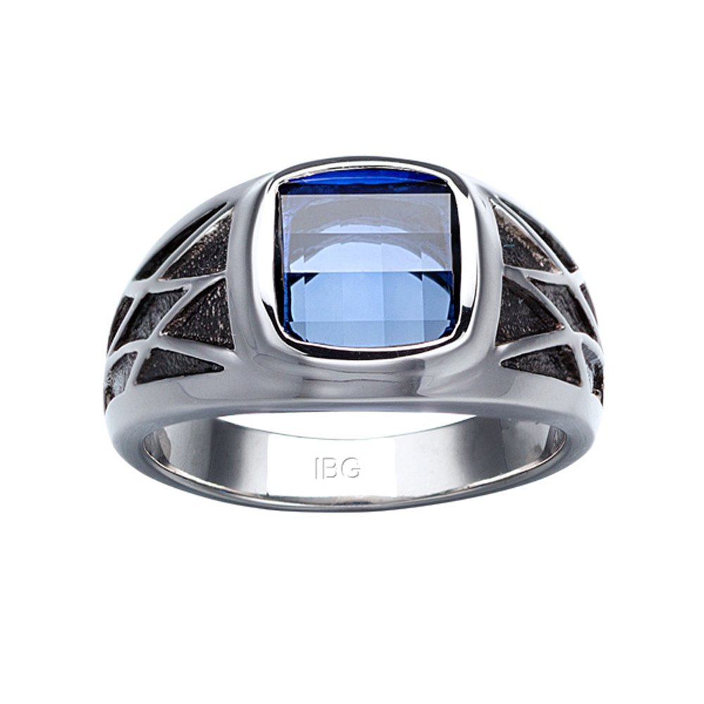 Sterling Silver Created Sapphire Ring with black rhodium accent detail. Finger size 10.5