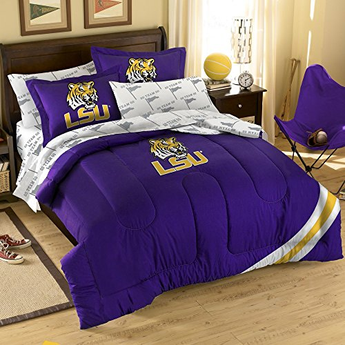 NCAA / MLB / NBA / NFL-Full Size Applique 7 pc Comforter Set-Many different Teams! (LSU Tigers, Full Size) by Purchadise