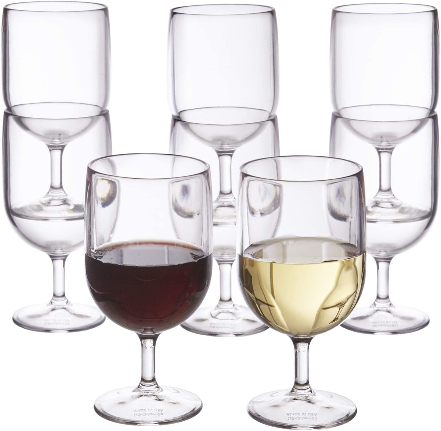 Stackable 8 Ounce Plastic Wine Stems Set Of 8 Clear Amazon Co Uk Kitchen Home