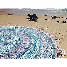 Handicrunch Indian Mandala Round Roundie Beach Throw Tapestry Hippy Boho Gypsy Cotton Peacock Tablecloth Circle of Flowers Beach Towel Round Yoga Mat