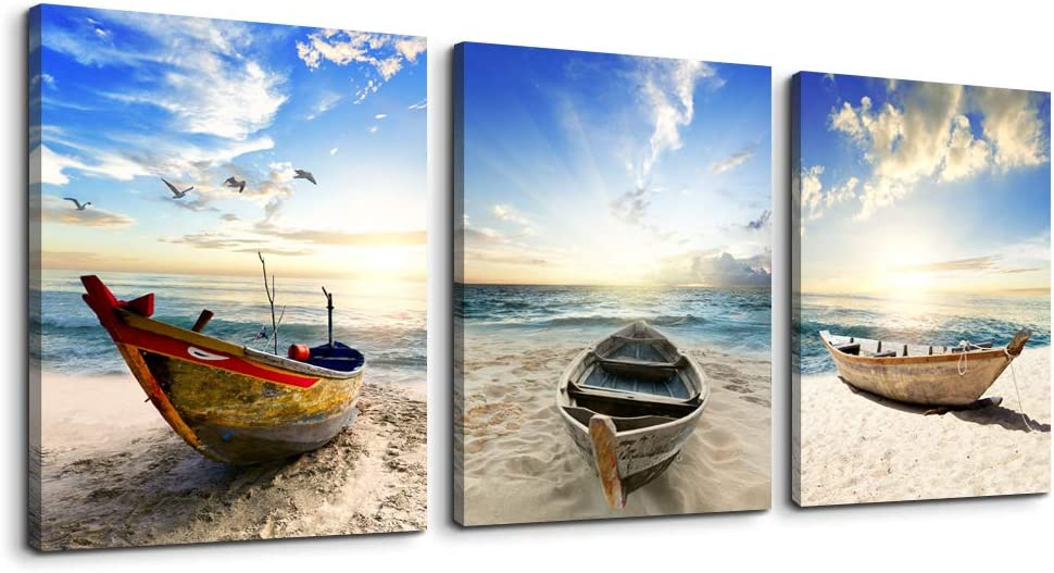 "Canvas art bathroom Wall Art Decor for bedroom artwork Painting Blue ocean beach ship landscape office Canvas Prints pictures 16"" x 24"" 3 Pieces Modern framed kitchen wall decorations for living room"