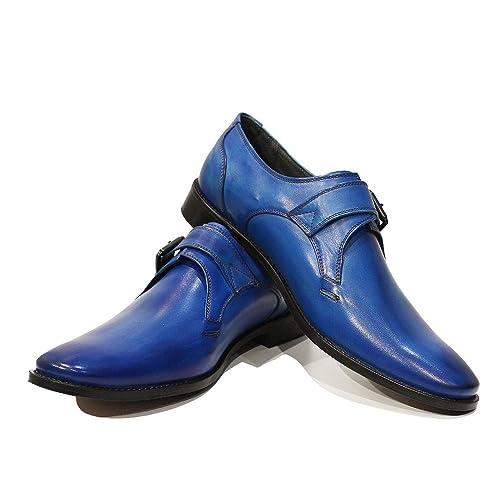 Modello Bluto - 43 EU - Cuero Italiano Hecho A Mano Hombre Piel Azul Monk Zapatos Oxfords - Cuero Cuero Pintado a Mano - Hebilla uqsS4m