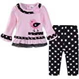 LittleSpring Cute Toddler Baby Girls Fall Clothes Outfits Long Sleeve T-Shirt and Pants Set