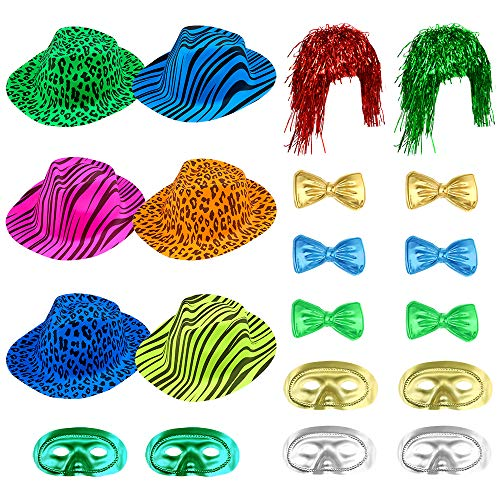 Auihiay 20 Pieces Photo Booth Hats Funny Party Hats Kit Include Plastic Animal Print Hats, Bow Ties, Metallic Half Mask and Foil Tinsel Wig for Kids Adults Photobooth Party Weddings
