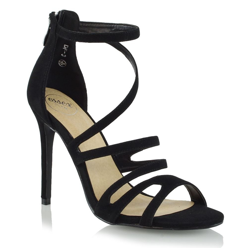 ESSEX GLAM Womens Strappy High Heel Sandals Ladies Peep Toe Evening Party  Prom Shoes Size 3-8: Amazon.co.uk: Shoes & Bags