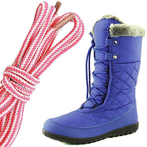 Dailyshoes Confort Des Femmes Bout Rond Mi-mollet Cheville Plat Haute Eskimo Fourrure Dhiver Bottes De Neige, Rose Blanc Bleu Royal