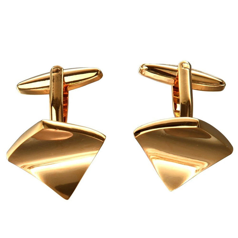 TOOGOO(R) 1 paire Hommes Boutons de Manchette en Acier Inoxydable - d'Or 016496
