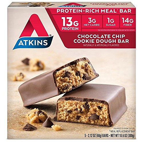 Atkins, Protein Rich Meal Bar, Chocolate Chip Cookie Dough Bars 5-2.1 Ounce ()