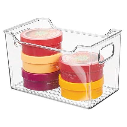 MetroDecor mDesign Cajas de plástico con Asas – Organizador Transparente con diseño Atractivo – Cajas organizadoras