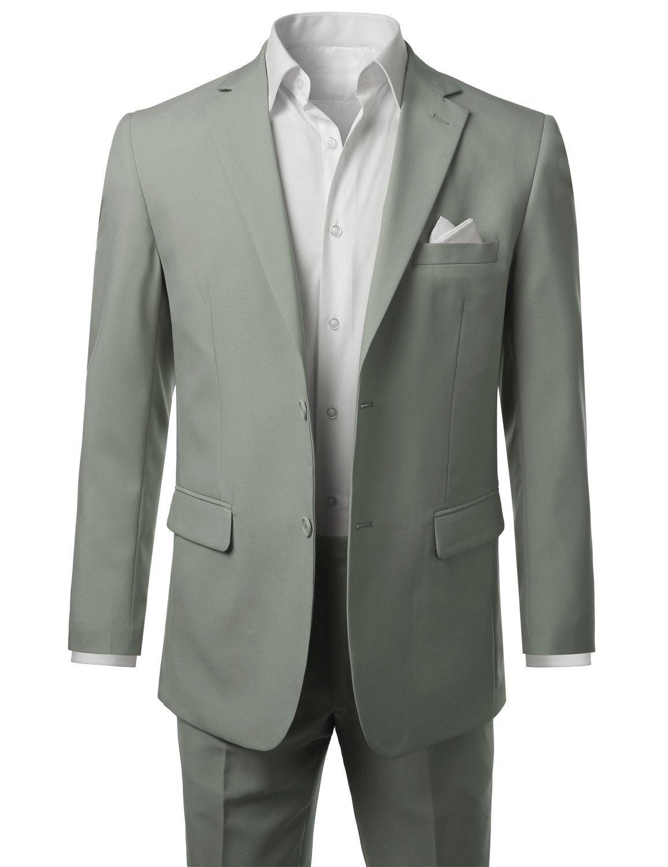 AK Beauty Men's Suit Two-piecce Best Man Suit Jacket and Pants (XXXXXL, Light Grey)