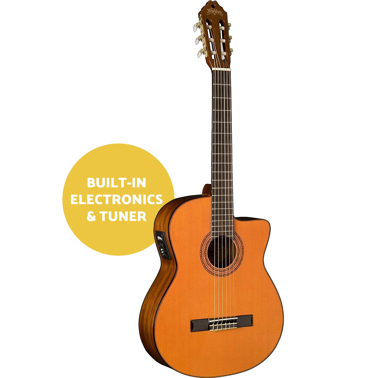Washburn C5CE-A Classical Series Cutaway Acoustic Electric Guitar