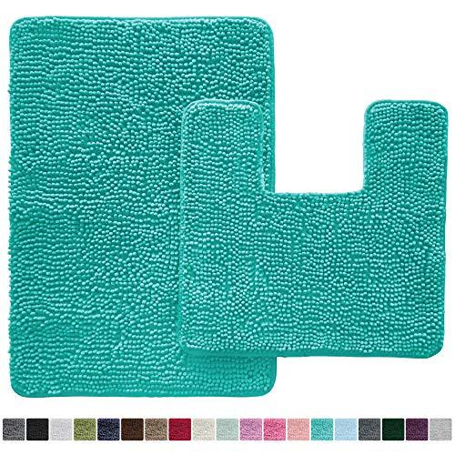 Chenille Rugs Bath - Original Shaggy Chenille 2 Piece Bath Rug Set, 19x19 Square U-Shape Contoured Toilet Mat & 30x20 Carpet Rug, Machine Wash/Dry Mats, Soft, Plush Rugs for Tub Shower & Bath Room (Turquoise)