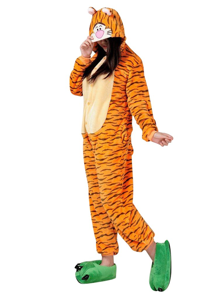 MissFox Unisex Kigurumi Pigiama Adulto Anime Cosplay Halloween Costume Animale Pigiama Costumi di Carnevale Fiocco di neve M