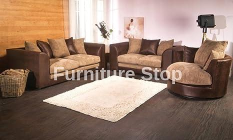 Dilo Portobello sofá sofás Rhino marrón y Beige Jumbo Cable ...
