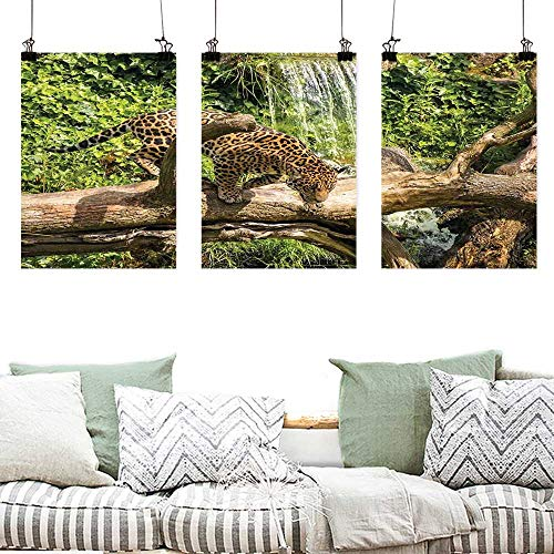 (Canvas Wall Art Safari Decor Jaguar cat on a Tree Trunk Waterfall in The Backbround Endangered Species Wild Life Fast Animal for Living Room,Dinning Room, Bedroom 3 Panels 24x35inchx3pcs)