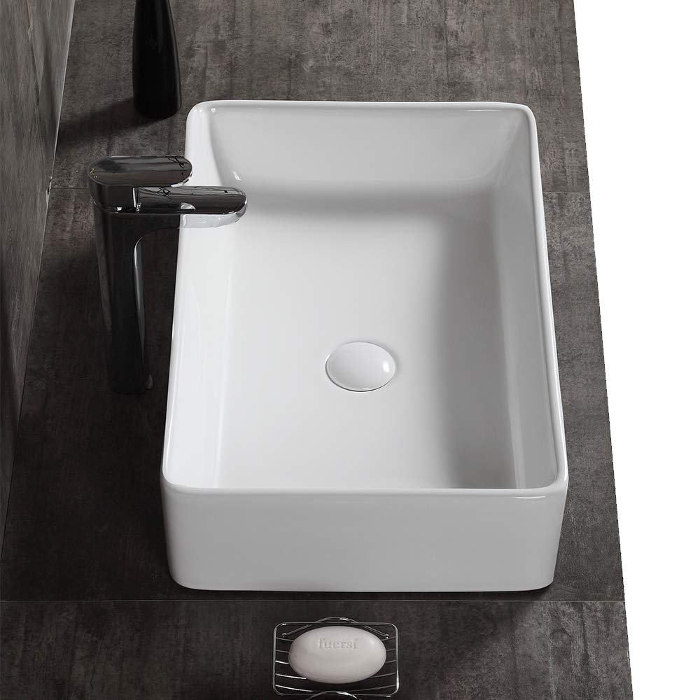 AWESON 23 Inch x 15 Inch Rectangular Vessel Sink, Ceramic Bathroom Sink Rectangular, Above Counter Porcelain Vessel Sink 23 -Rectangular