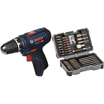 Bosch GSR 12V-15 Professional - Atornillador a batería sin batería ni cargador (12V) + Bosch 2 607 017 164 Set de 43 Unidades para atornillar y Llaves ...
