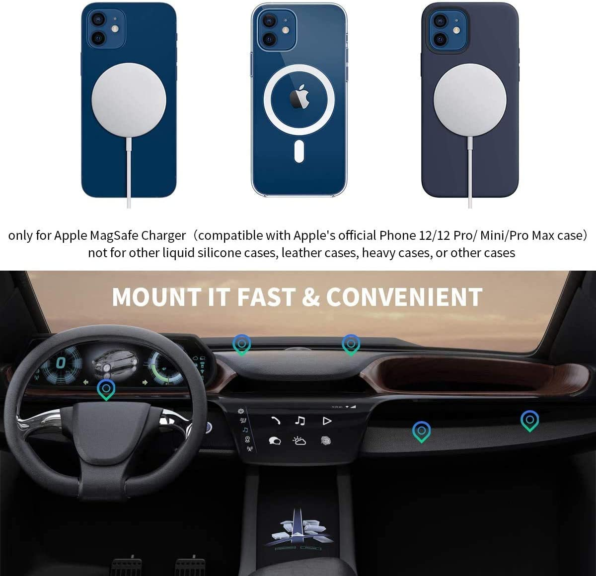 360/° Phone Holder Pad Compatible with iPhone 12//12 mini//12 Pro//12 Pro Max Dashboard Mount Round /& Air Vent Magsafe Stand Charger Case 2PCS Alquar for Magsafe Car Mount Black