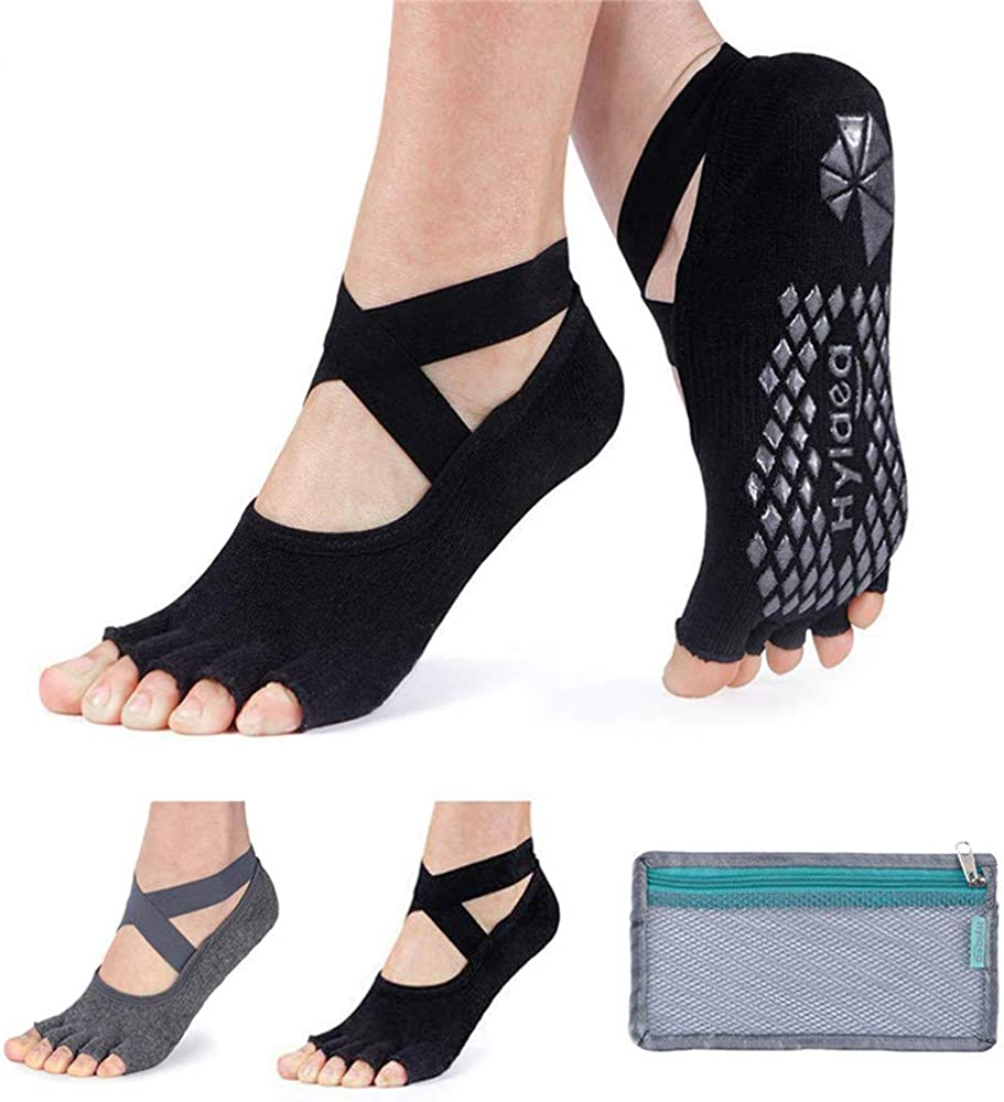 Non Slips with Grips with Toes Ballet JUNSHUO 2Pairs Yoga Socks for women Barre Fitness Workout Low Cut Cotton Soft /& Gentle Five Toe Socks for Pilates Dance