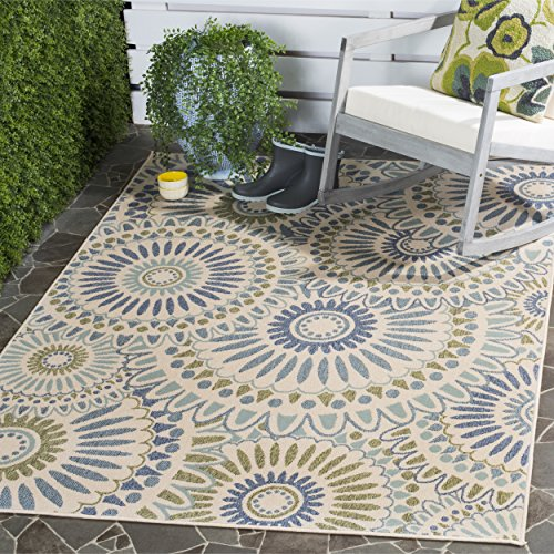 Safavieh Veranda Collection VER091-0614 Indoor/ Outdoor Cream and Green Contemporary Area Rug (6'7'' x 9'6'') by Safavieh