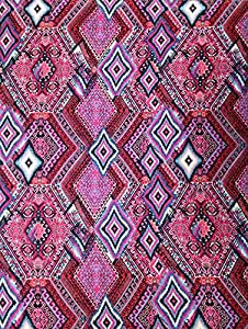 Pink Diamond Tribal Big Pattern on Stretch Knit Jersey Polyester Rayon Spandex Fabric By the Yard