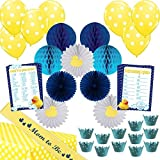 "45 Piece ""Little Quack"" Baby Shower Decoration Kit for Boys (Hosts 12) Blue - Turquoise - Yellow Rubber Duck Theme by Stork Station"