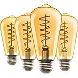 Vintage Edison LED Light Bulbs 40W Equivalent, E26 Medium Base, ST64 Amber Glass Light Bulb, High CRI 90, 2000K Warm Yellow L