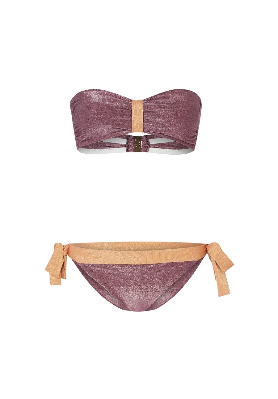Canobio Noeuds, Maillot de Bain Deux Pièces Femme, Violet (Lurex Mauve), 38 (Taille Fabricant: Medium)