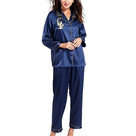 d2e824229e Pratnd Pajamas Women Long Sleeve Solid Pyjamas Men Love Sleepwear Woman s  Lounge Couples Pajama Sets Pijama Mujer Blue L at Amazon Women s Clothing  store