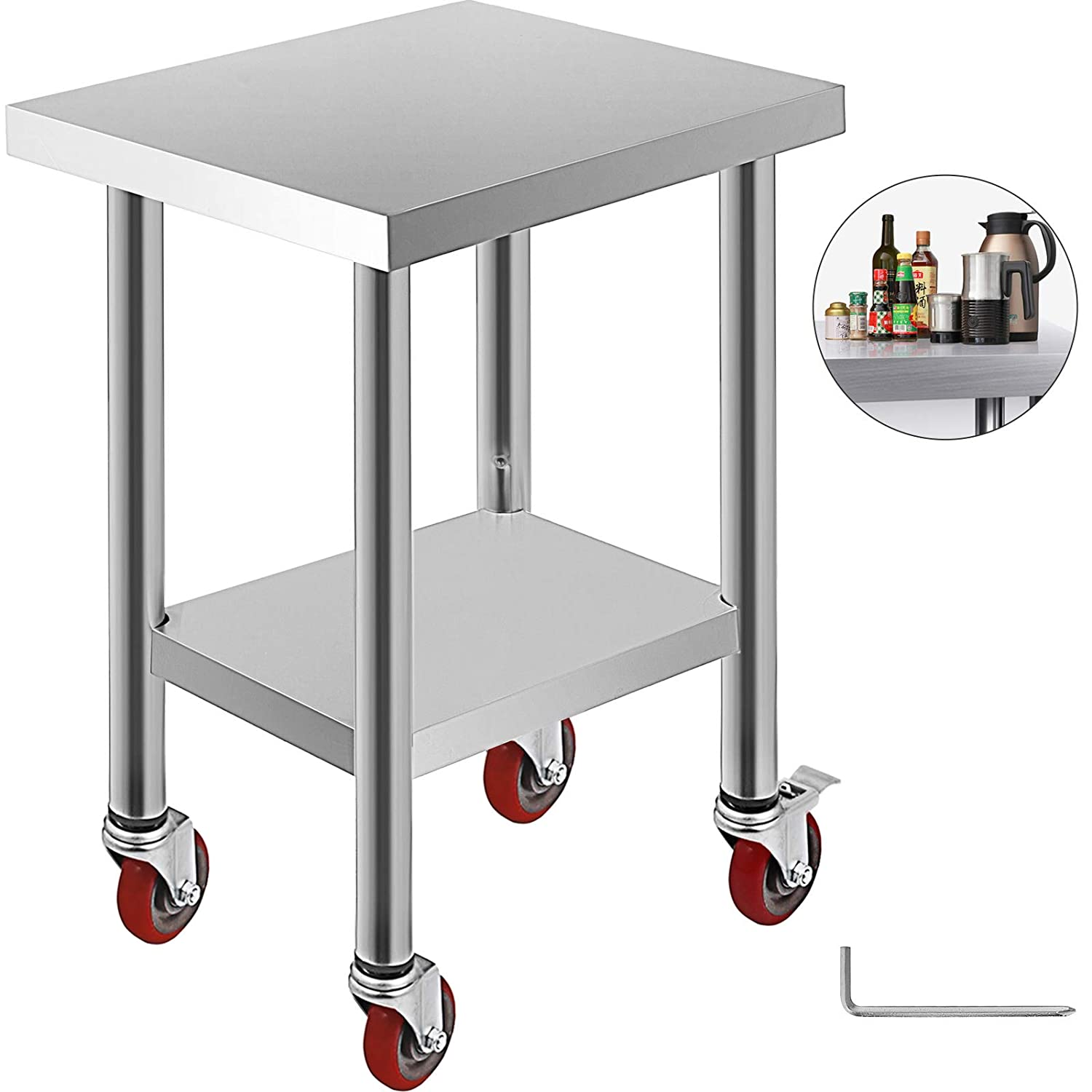 Mophorn 24x18 Inch Stainless Steel Work Table 3 Stage Adjustable Shelf with 4 Red Wheels Heavy Duty Commercial Food Prep Worktable with Brake