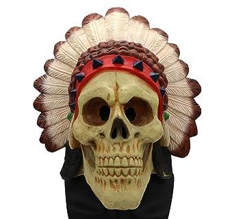 HZJA Máscara Halloween Indio Terror Ghost Bar Prom Up Props Mascara Caps Bioquímica Esqueleto: Amazon.es: Deportes y aire libre