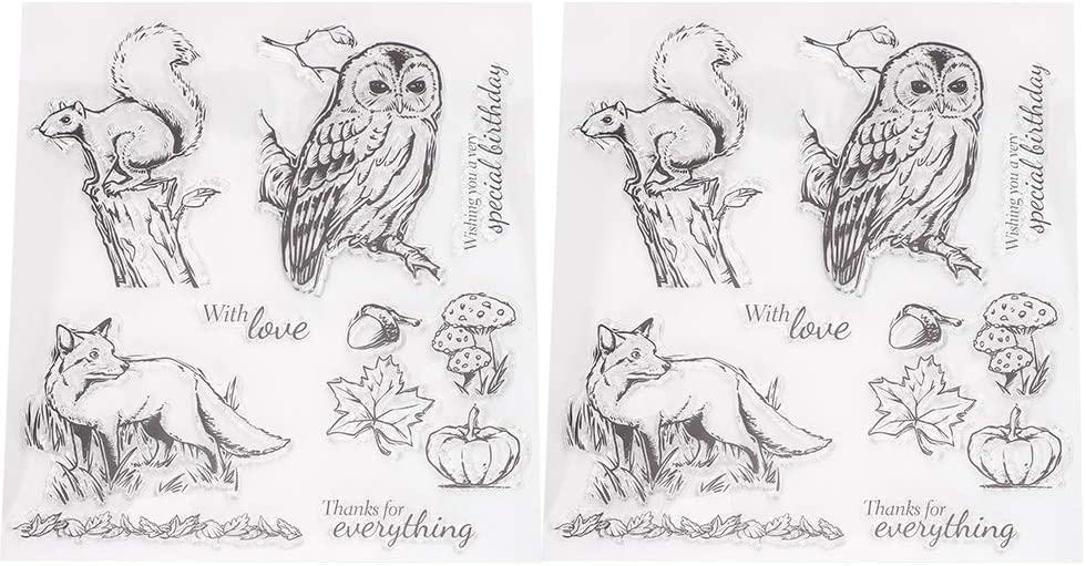Portable Ink Pad Owl Squirrel Rubber Stamps Unique Transparent for Paper Crafts Hand-Made Gifts Journal DIY