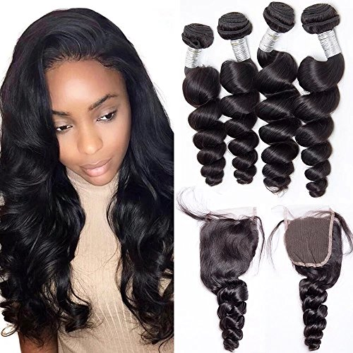 Maxine Loose Wave Lace Frontal Closure with 3Bundles Loose Wave Hair Bundles with 4x4 Free Part Closure Peruvian Loose Wave Bundles with Closure Hair Weave with Frontal Free Part 24 26 26 with 18 Inch