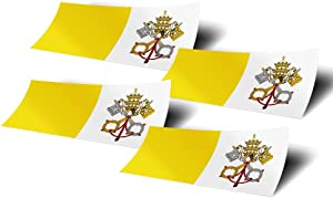 Vatican City 4 Pack of 4 Inch Wide Country Flag Stickers Decal for Window Laptop Computer Vinyl Car Bumper 4