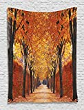 Fall Road Foliage Nature Forest Tapestry Photography Autumn Alley Landscape Park Perspective Vivid Colors Orange Digital Printed Wall Hanging Living Room Bedroom Dorm Decor, Orange Yellow Red Brown
